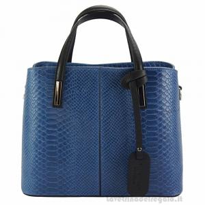 Borsa Blu a Mano con tracolla in pelle - Vanessa - Pelletteria fiorentina