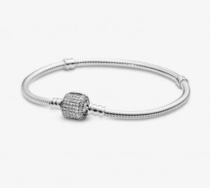 Bracciale Moments – Maglia snake con chiusura a barilotto in pavè scintillante – 18