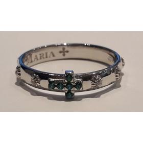 Anello rosario con zirconi bianchi e crocetta verde