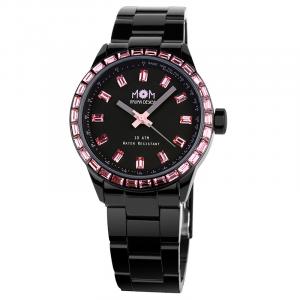 orologio donna in acciaio pvd nerocon strass Mom design modello Liliana