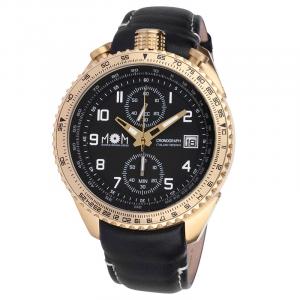 Orologio cronografo uomo mom design modello mph in acciao Gold con cinturino in pelle nera