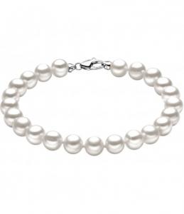 bracciale donna con perle e oro bianco comete gioielli