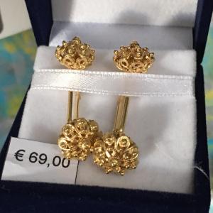 gemelli in filigrana in argento dorato con bottone sardo