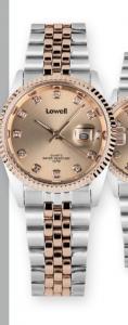 Orologio solo tempo donna Lowell con strass modello Rolex cinturino bicolore acciaio-rosè