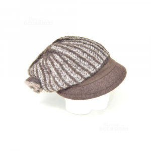 Hat Woman In Wool Brown Striped