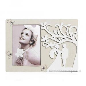 Portafoto con Albero della Vita e Sposi in legno 17.5x13 cm - Bomboniera matrimonio