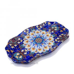 Vassoio sagomato Design Maioliche in vetro 24.5x15.5 cm - Idea Regalo