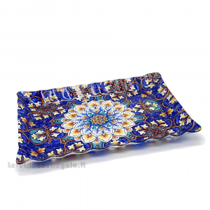 Vassoio rettangolare Design Maioliche in vetro 36x26 cm - Idea Regalo