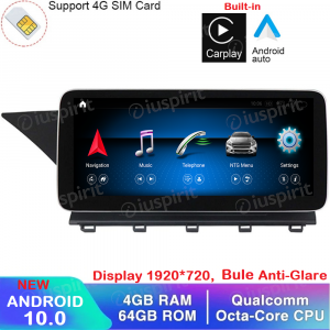 ANDROID navigatore per Mercedes Classe GLK X204 GLK220 GLK280 GLK300 GLK350 2013-2015 NTG 4.5 10.25 pollici 4GB RAM 64GB ROM Octa-Core Car Play Android Auto Bluetooth GPS WI-FI