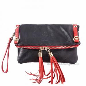Borsa pochette Nera e Rossa con Tracolla in pelle - Giorgia - Pelletteria fiorentina