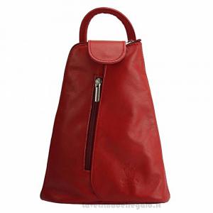 Zaino multifunzionale Rosso in pelle - Michela - Pelletteria fiorentina