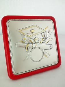 Targa laurea in argento 925 Acca con retro in pelle cod. 69TA.10 LISTINO 47