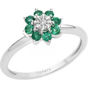 Anello in oro bianco 750% con fiore di smeraldi e diamanti Comete Gioielli ANB2379