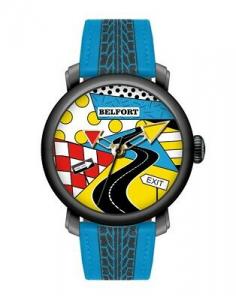 Orologio da uomo con cinturino blu e stampa corsia stradal Belfort Pop Art 01