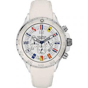 Orologio cronografo uomo Nautica con cinturino in pelle bianco A43508G