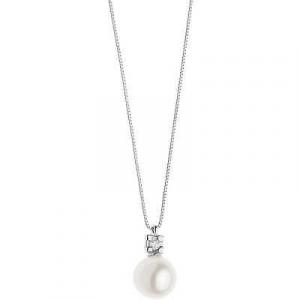 Collana oro bianco 750% con perla e diamante Comete Gioielli GLP568