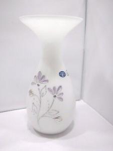 Vaso in vetro bianco Linea Preziosi con applicazioni laminate argento
