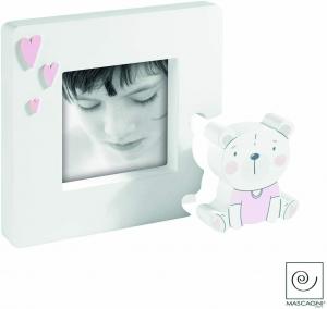 Cornice portafoto Mascagni  in legno bianco e rosa idea regalo bimba A1204