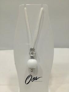 Collana donna Osa cod. 70204 bianca con ciondolo perla di murano