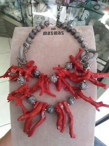 Collana girocollo MasMas con corallo e pietre dure grigie Made in ITALY CL039