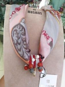 Foulard gioiello grigio rosa rosso MasMas  Made in ITALY FOU36