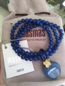 Bracciale elastico multifilo con pietre dure blu MasMas  Made in ITALY BR/061