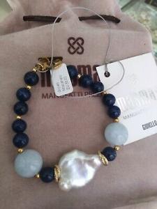 Bracciale con pietre dure blu bianco MasMas  Made in ITALY BR/025