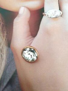 Qudo Jewerly  pietra per anello Top bottone 13 mm bianco