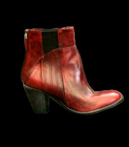Stivaletto donna in pelle di vitello | fondo cuoio/gomma | Colore rosso Chianti | made in Italy