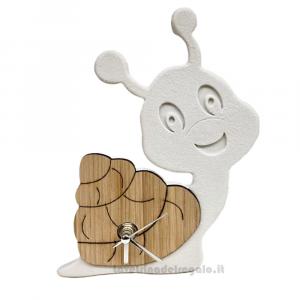 Orologio da tavolo Lumaca in marmo e legno 14x17 cm - Bomboniera