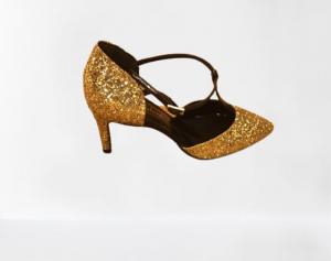 Scarpa Decolté con glitter artigianale | interno in pelle| colore oro | made in Italy