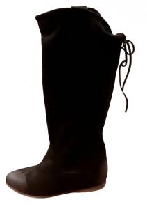 Stivale donna in pelle scamosciata | colore nero | fondo cuoio | made in Italy