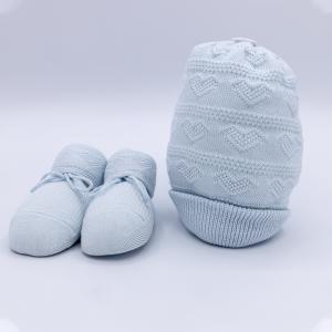 Cappellino e scarpine caldo cotone - cielo