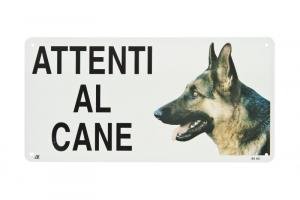 ATTENTI AL CANE TARGHETTA IN METALLO FERRIBIELLA