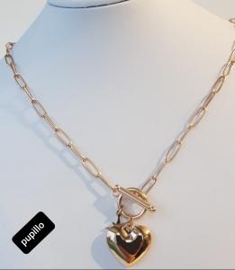 collana acciaio dorato catena e cuore
