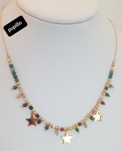 collana acciaio dorato perle pietra multicolor stella