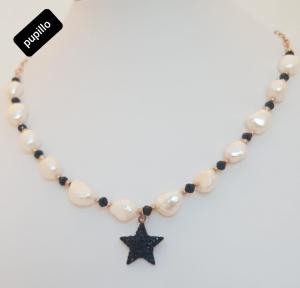 collana perle fiume acciaio doratio pend strass stella