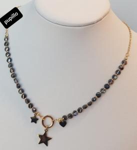 collana catenina acciaio gold  perle vetro e stella