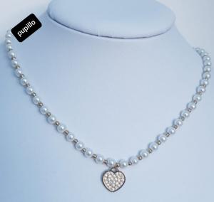 collana acciaio gold  perle vetro cuore zirconi white