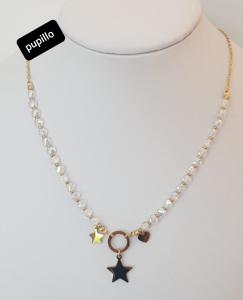 collana catenina acciaio gold  perle vetro color e stella