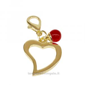 Ciondolo Cuore con perla rossa e moschettone 2.5 cm - Bomboniere matrimonio