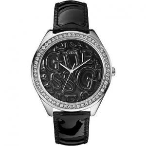 Orologio donna Guess con cinturino in vernice nera lucida W85098L4