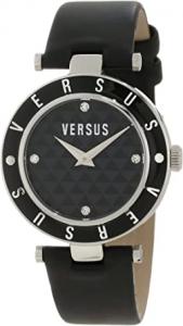 Orologio donna Versus con cinturino in pelle nero e quadrante nero 3c71200000