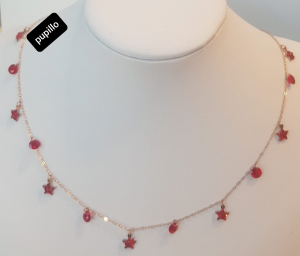 collana acciaio rosato cuori vetro rosso  strass