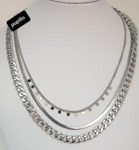 collana  acciaio silver tripla  catena