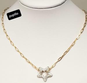 collana acciaio catena gold rose  stella strass bianco