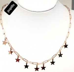 collana acciaio catena gold rose  stelline pendenti