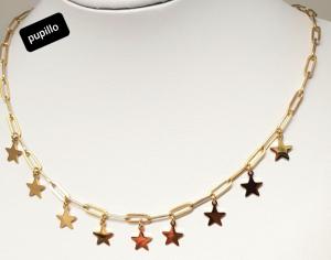 collana acciaio catena gold stelline pendenti