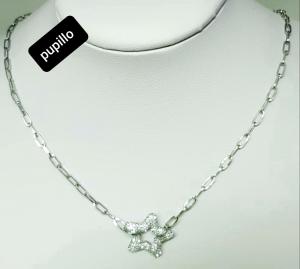 collana acciaio catena silver stella strass bianco