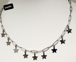 collana acciaio catena silver stelline pendenti